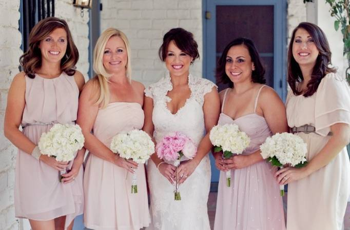 blush pink bridesmaid dresses, pink and cream bouquets