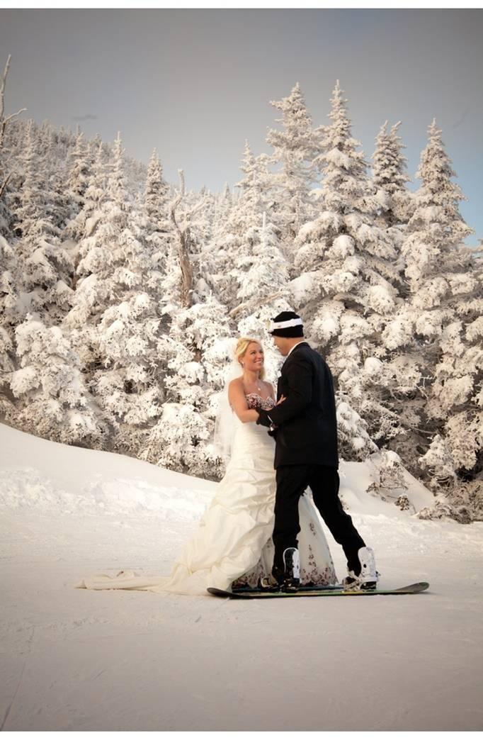 snowboarding bride and groom