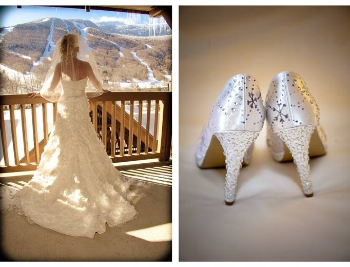 snowflake heels, winter bride