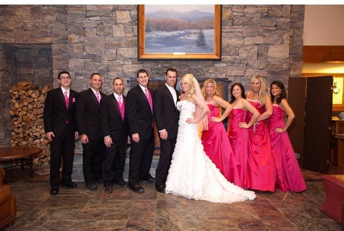 hot pink and black wedding party