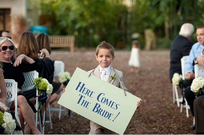 ring bearer, here comes the bride sign