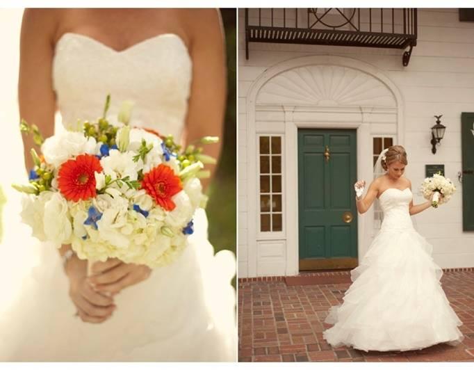 white orange blue bouquet