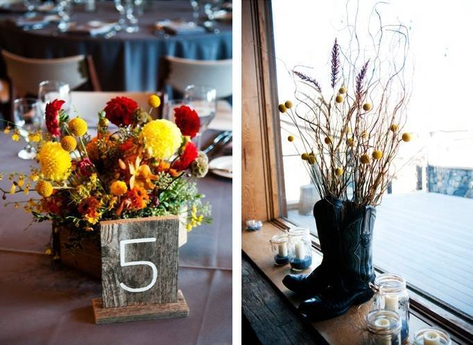 rustic yellow red orange centerpieces