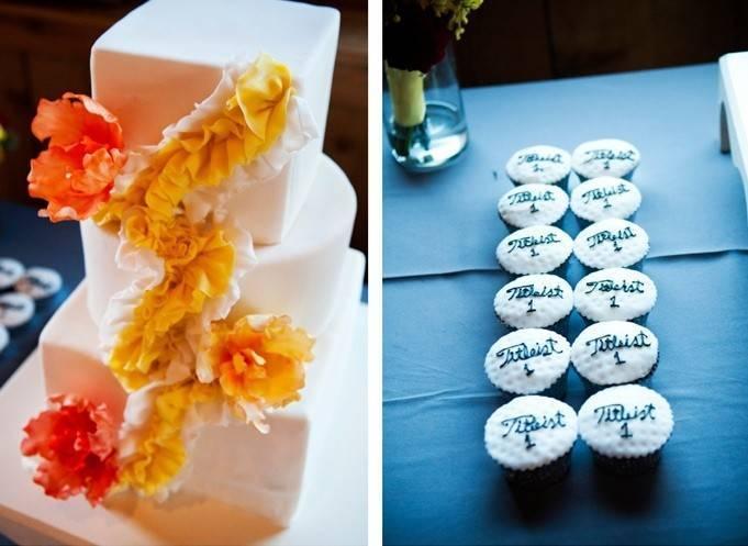 yellow and orange wedding cake