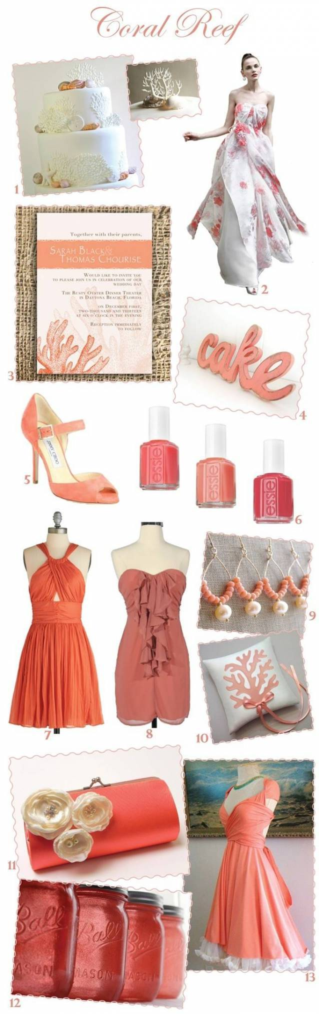 coral wedding inspiration board