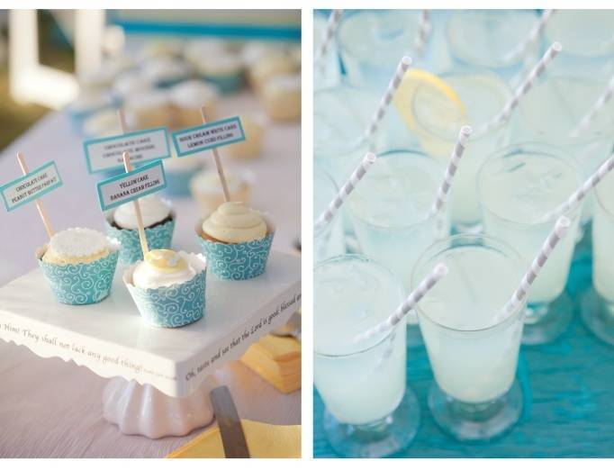 blue and yellow cupcakes