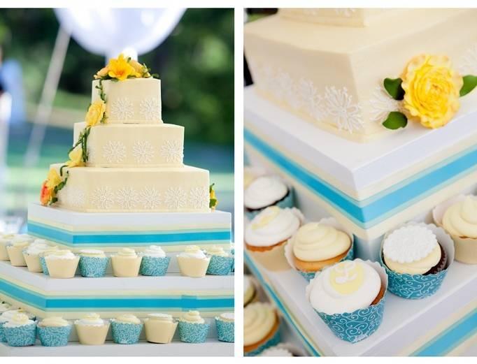 yellow and blue wedding cake