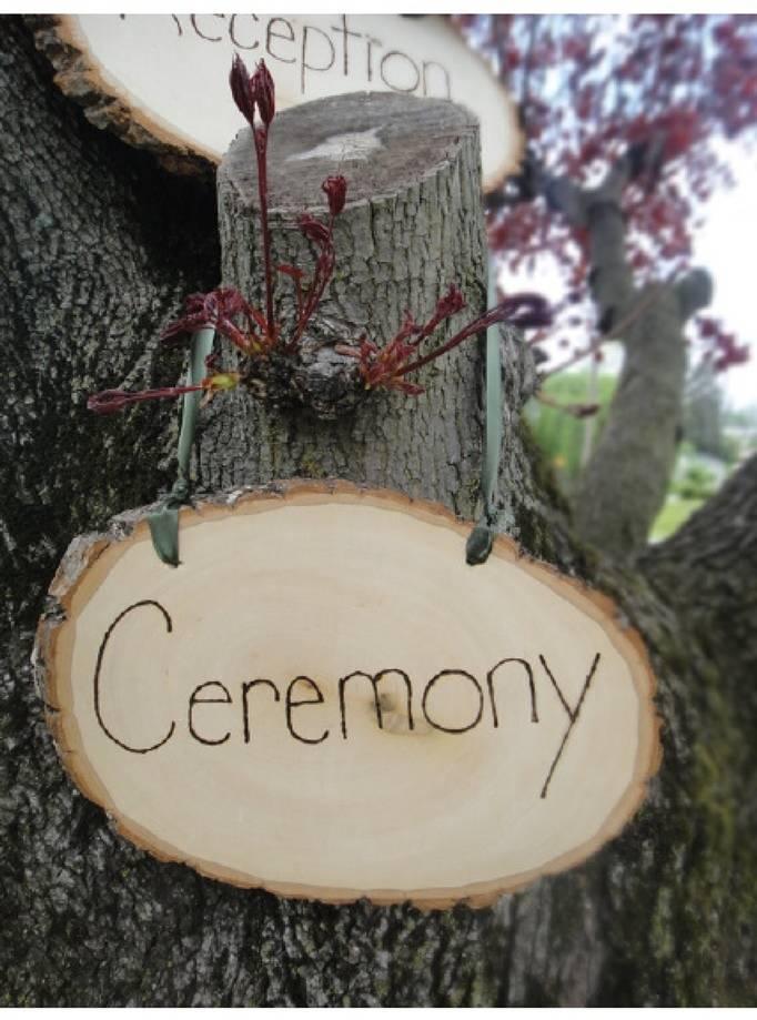 woodland wedding signs