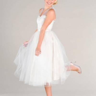 Show Off Your Toes in a Tea Length Wedding Dress