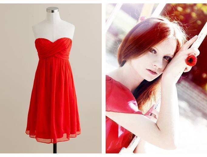 poppy red bridesmaid dress