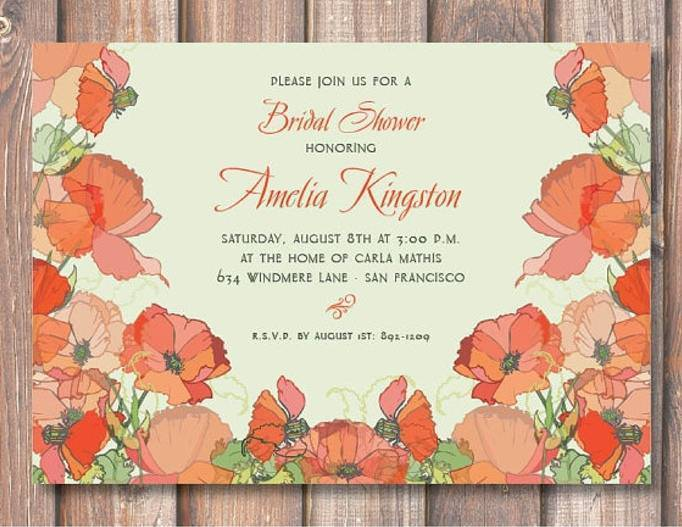 poppy bridal shower invitations