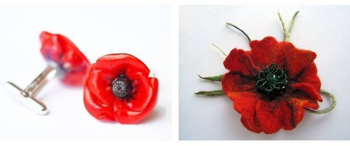 poppy flower brooch