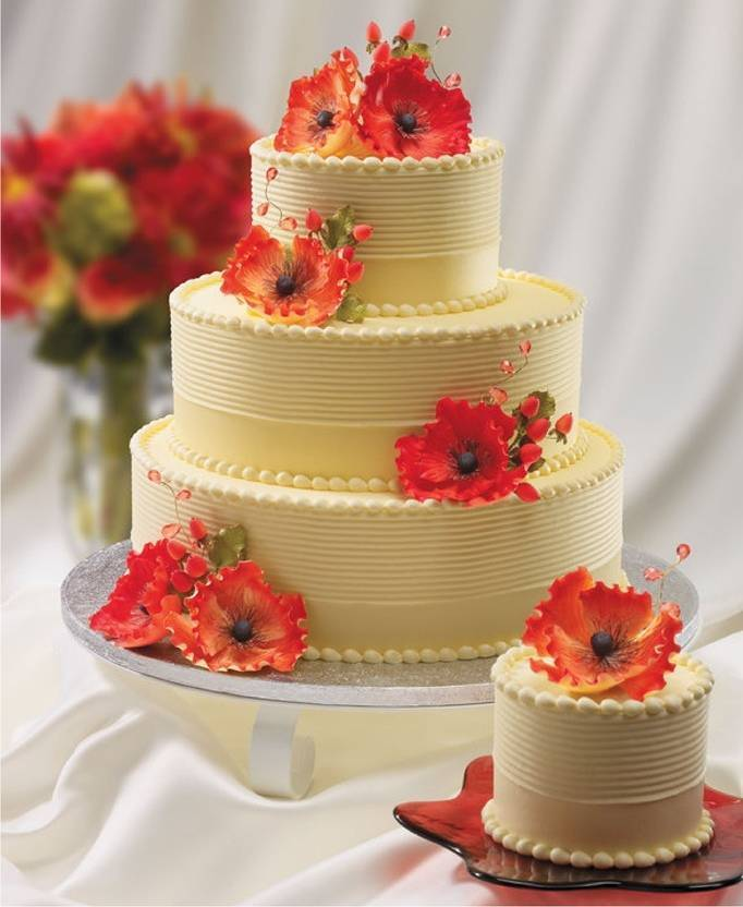 poppy flower wedding cake