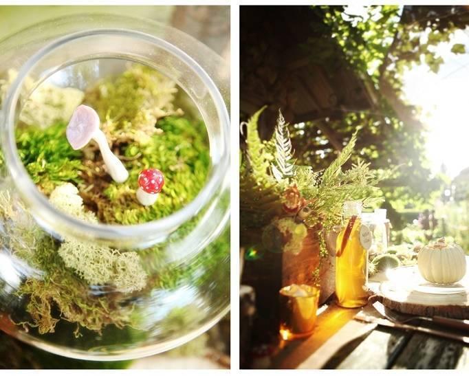 woodland wedding terrarium centerpiece