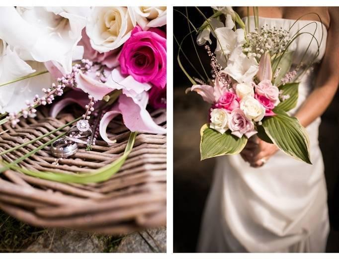 bright pink wedding bouquet