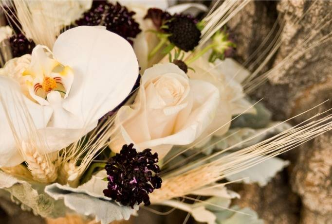 blackberry and orchid bouquet