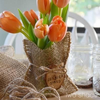 DIY Burlap Bags + Mason Jar Favors