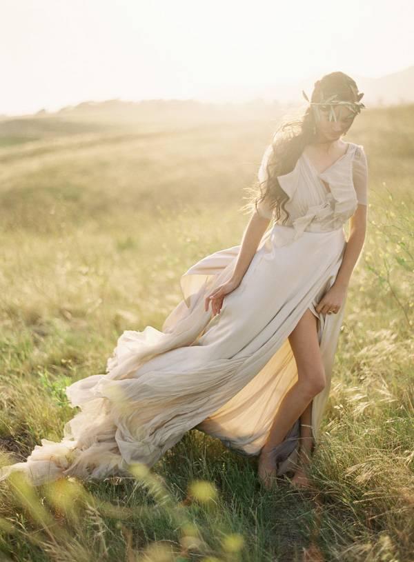 flowy greek wedding gown