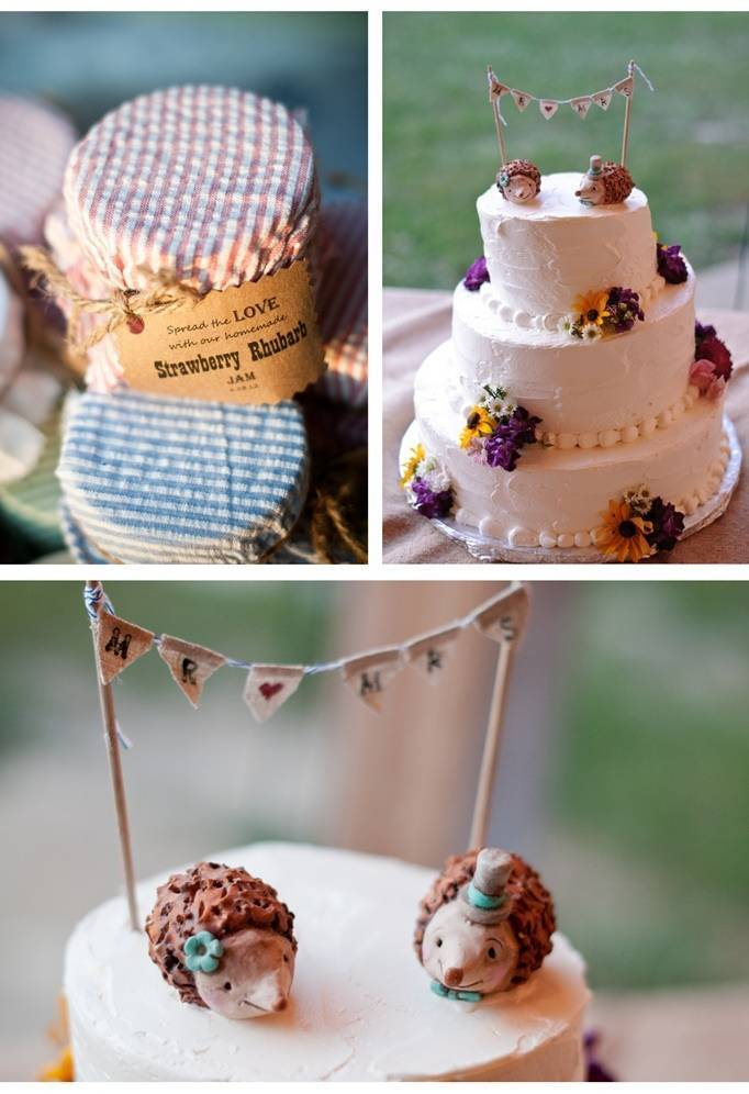 rustic wildflower wedding cake