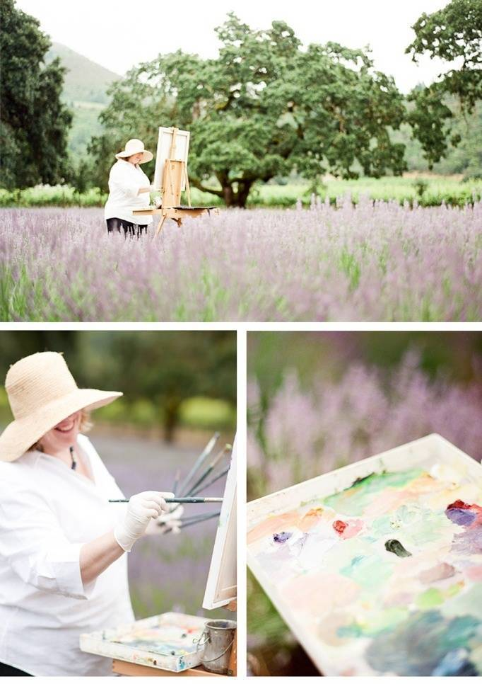 painting in a lavender field