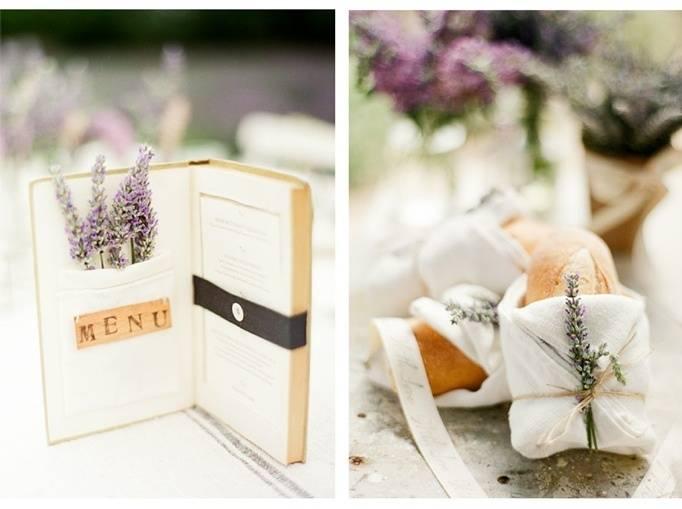 lavender theme wedding menu
