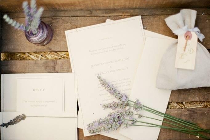 lavender wedding stationery