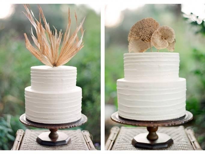 simple woodland wedding cake