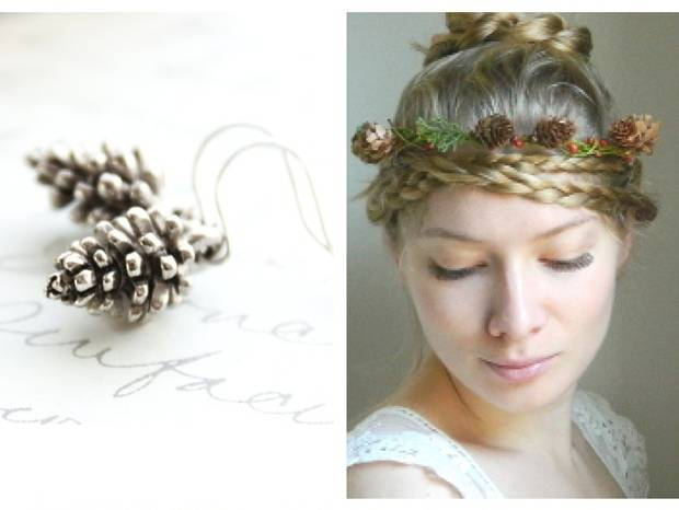 pinecone earrings and hair crown