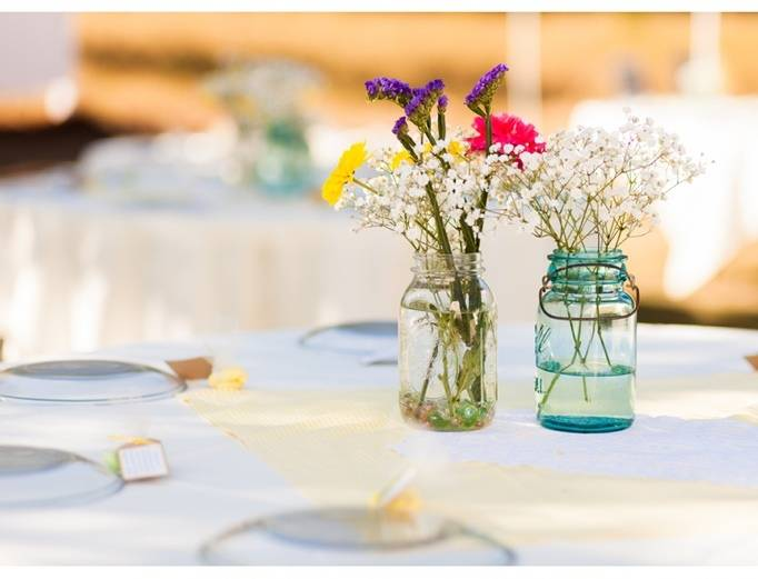 mason jar wildflower centerpieces