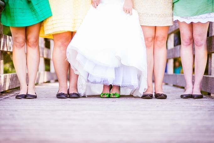 yellow and green bridesmaid dresses