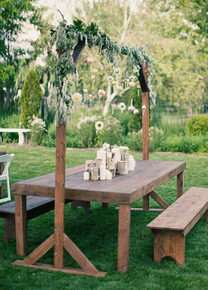 birch and candle centerpiece