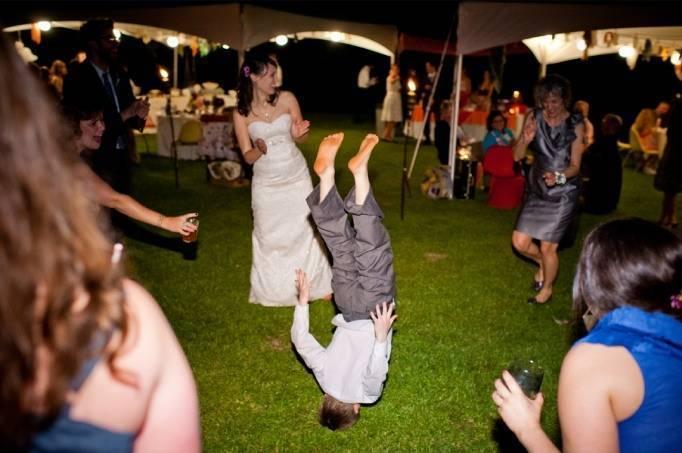 outdoor wedding breakdancing