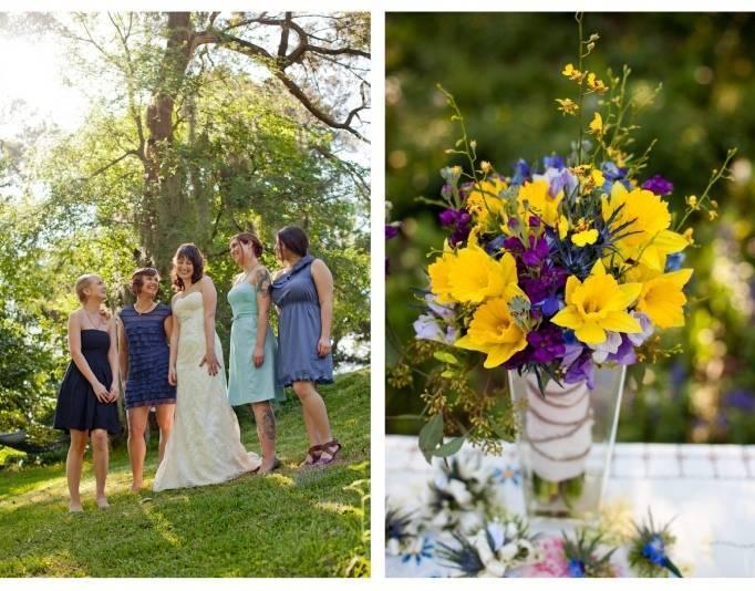 blue tone bridesmaid dresses