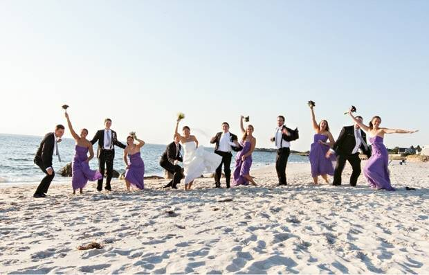 Purple beach wedding