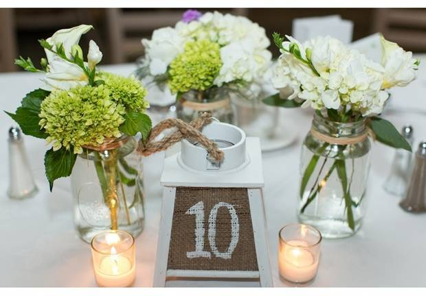 white and green wedding table