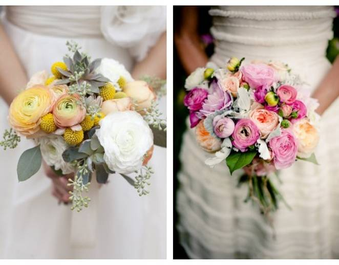 pink and peach ranunculus bouquets