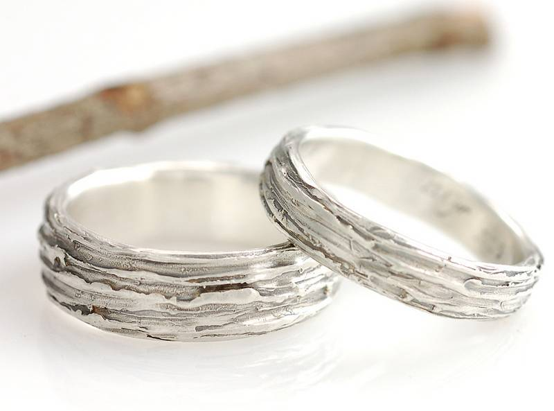 tree bark wedding bands - Nature Inspired Wedding Rings