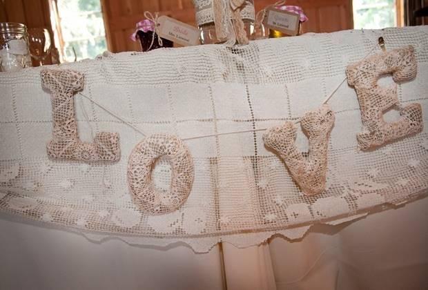 vintage lace wedding banner