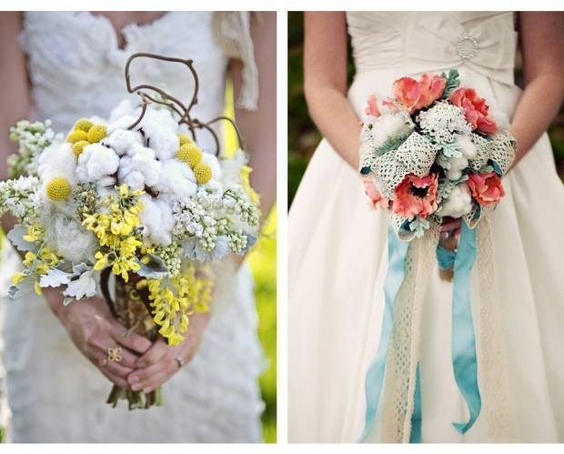 woodland bouquet with cotton