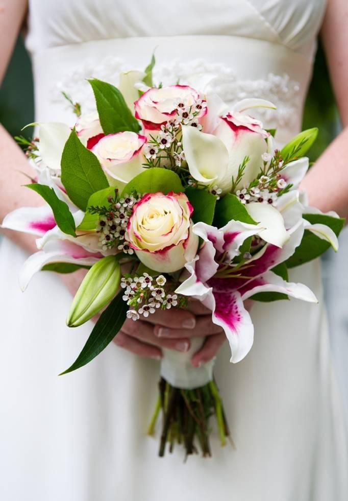 pink green white bouquet