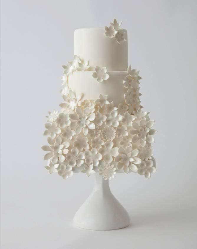 floral white wedding cake