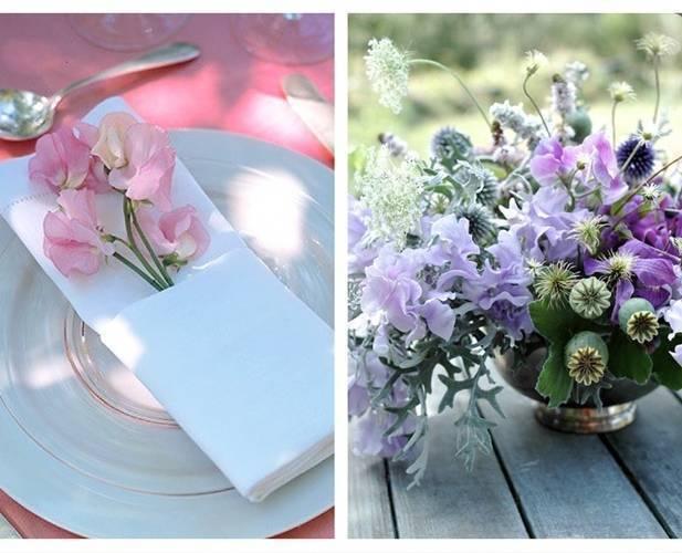sweet pea arrangement