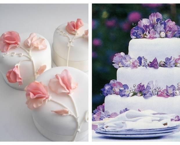 sweet pea sugar flowers wedding cake