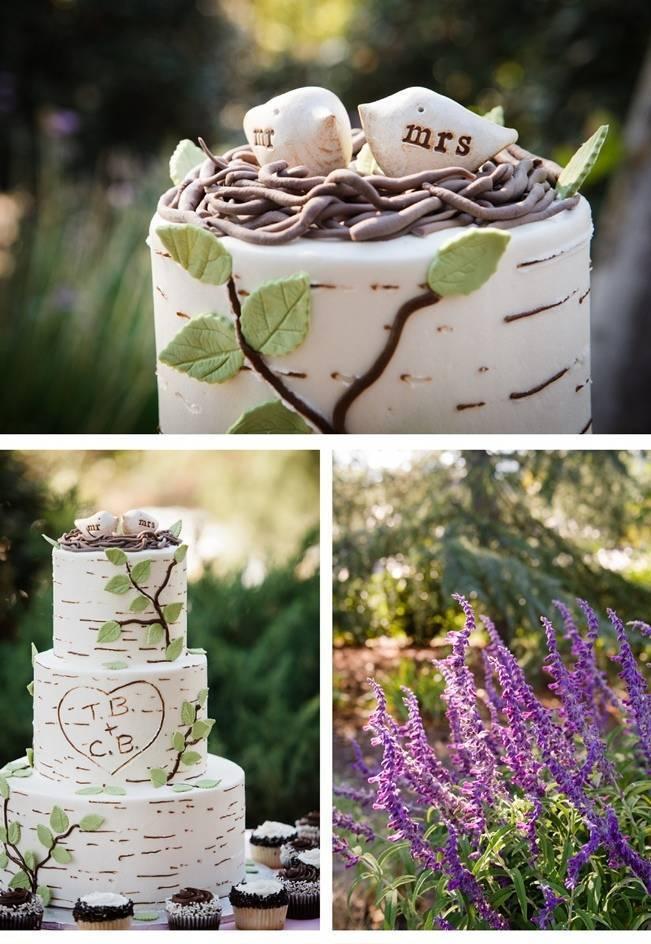 rustic birch and leaf wedding cake