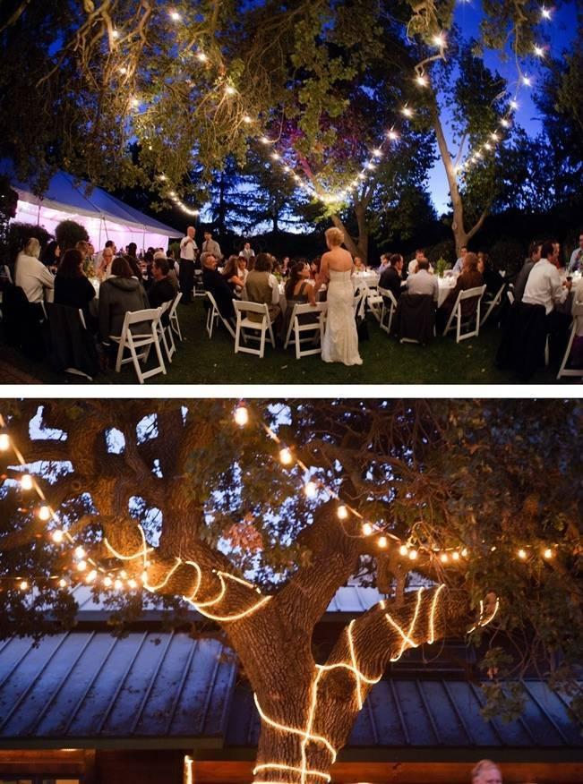 outdoor wedding reception tree lights