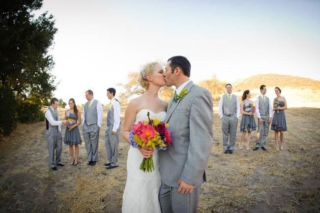 orange and grey wedding
