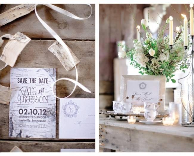 birch wedding invitations