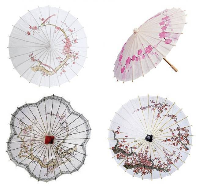 cherry blossom parasols, pink bridesmaid parasols