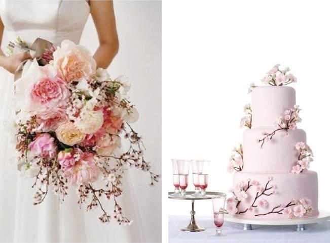 cherry blossom wedding bouquet, cake