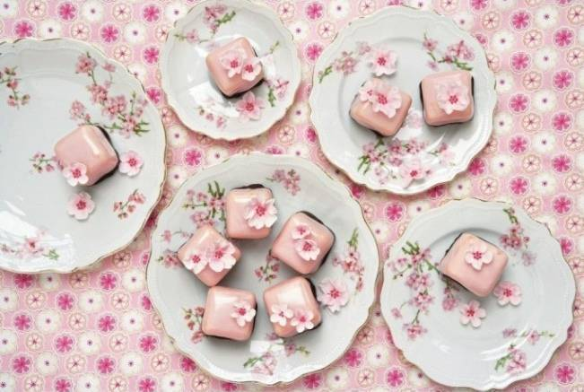 cherry blossom pink mini cakes